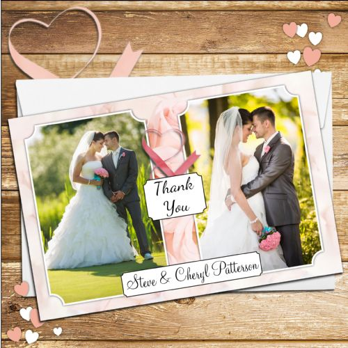 10 Personalised Pink Roses Wedding Day Thank you Photo cards N114